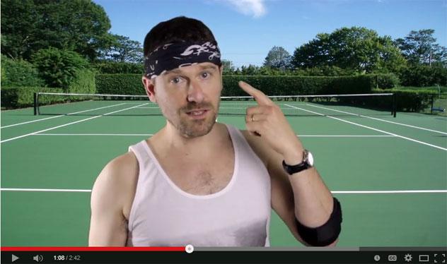 man playing tennis wearing a multifunctional headwear