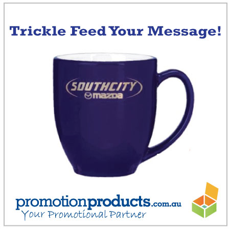 photo of a promotional coffee mug