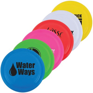 image of multicoloured promotional frisbees