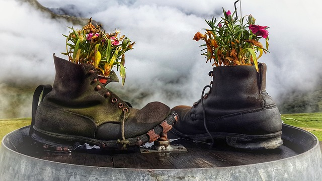 Boots with flowers inside