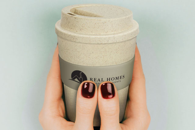 Eco coffee cup with printed logo on band