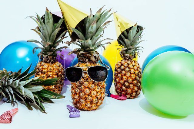Pineapples with glasses