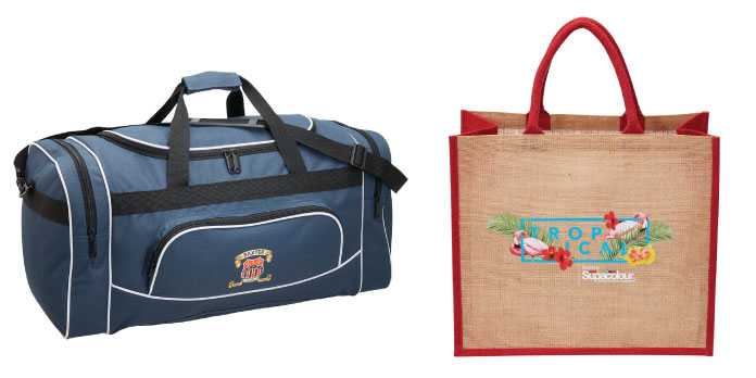 Supacolour printed sports bag and jute bag