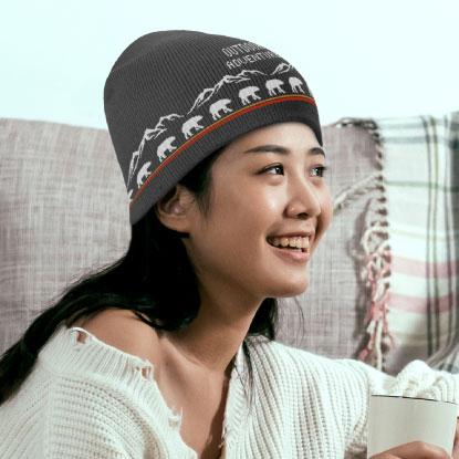 Woman wearing promotional beanie