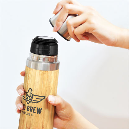Bamboo flask with lid off