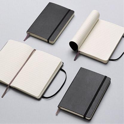 Moleskine notebooks flat on table