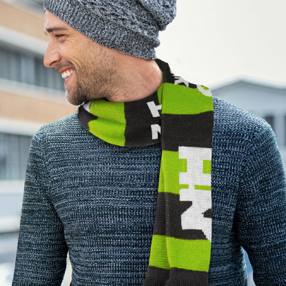 Mean wearing promotional scarf