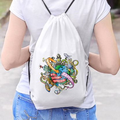 White promotional backsack with full colour print