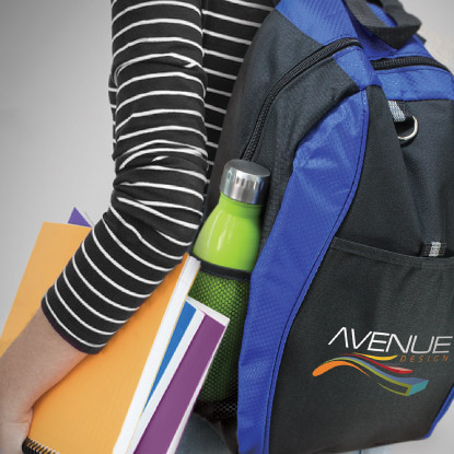 Woman wearing promotional backpack