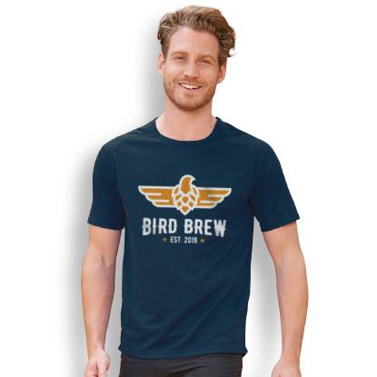 Man wearing Sols branded T shirt