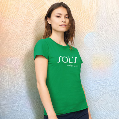 Woman wearing promotional t shirt