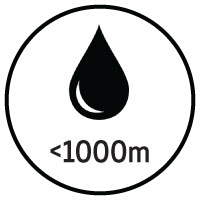 Less than 1000m of ink