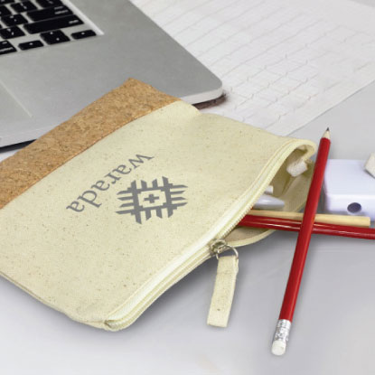 Cork promotional pencil case with company logo