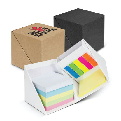 Promotional sticky note cubes on white background