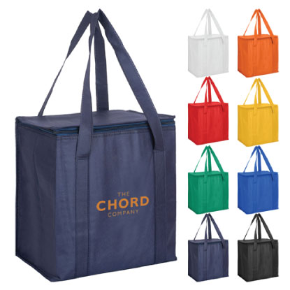 Promotional grocery style cooler bag on white background