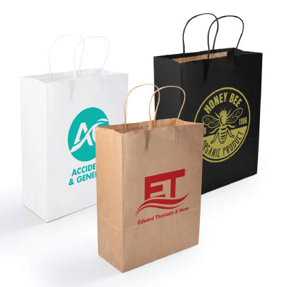 3 promotional paper bags on white background