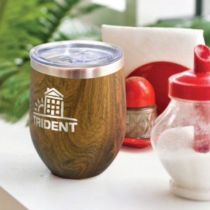 Wood pattern promotional reusable coffee cup