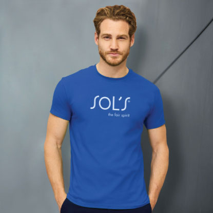 Male model wearing blue sols promotional tee shirt