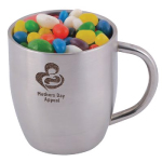 Assorted Colour Mini Jelly Beans in Double Wall Stainless Steel Curved Mug