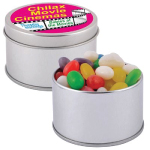Assorted Coloured Mini Jelly Beans in Silver Round Tin