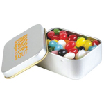 Assorted Coloured Mini Jelly Beans in Silver Rectangular Tin