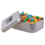 Assorted Colour Rainbow Chews in Silver Rectangular Tin