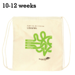 Logo Calico Drawstring Library Bag
