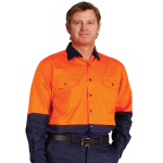 Hi Vis Two Tone Cool Breeze Long Sleeve Cotton Work Shirts