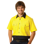 Hi Vis Two Tone Cool Breeze Short Sleeve Cotton Work Shirts