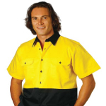 Hi-Vis Two Tone Short Sleeve Cotton Work Shirts