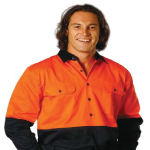 High Visibility Cotton Drill Long Sleeve Shirts