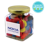 Jelly Beans in Glass Square Jar 170G
