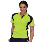 Ladies Hi-Vis Cooldry Contrast Polos with Sleeve Panels
