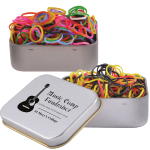 Logo Loom Bands in Silver Rectangular Tins