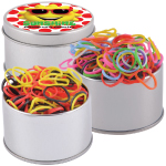 Logo Loom Bands in Silver Round Tins