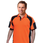 Mens Hi Vis Cooldry Contrast Polos with Sleeve Panels