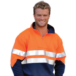 Mens High Visibility Long Sleeve Fleecy Sweat With Collar & 3M Tapes
