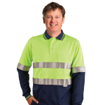 Mens TrueDry Safety Long Sleeves Polos with 3M Reflective Tapes