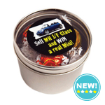 Small Round Acrylic Window Tin Filled with Lindor Balls X5