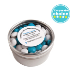 Small Round Acrylic Window Tin Filled With Chewy Fruits