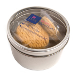 Small Round Acrylic Window Tin Filled with 4x Biscuits