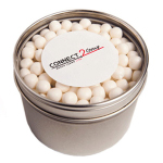 Small Round Acrylic Window Tin Fillled with 170G Mints