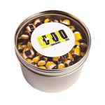 Small Round Acrylic Window Tin Filled with Tiny Humbugs 170G