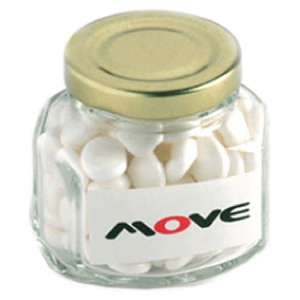 90G Mints in Glass Squexagonal Jar