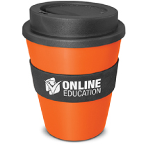 Orange Reusable Coffee Cup with black band and logo print