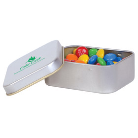 M&Ms in Silver Rectangular Tins