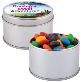 M&Ms in Silver Round Tins