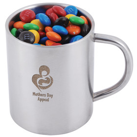 M&Ms in Stainless Steel Mugs