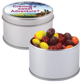Skittles in Silver Round Tins