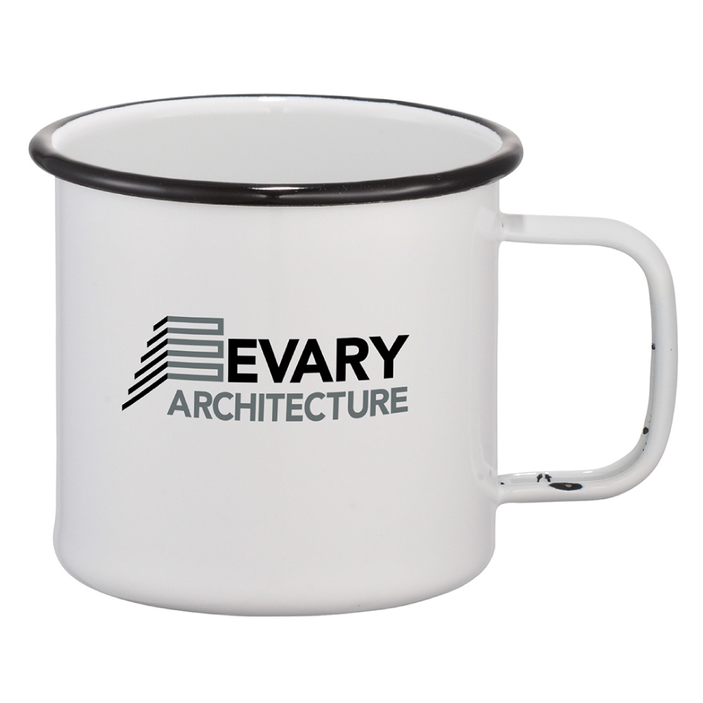 branded enamel metal mugs